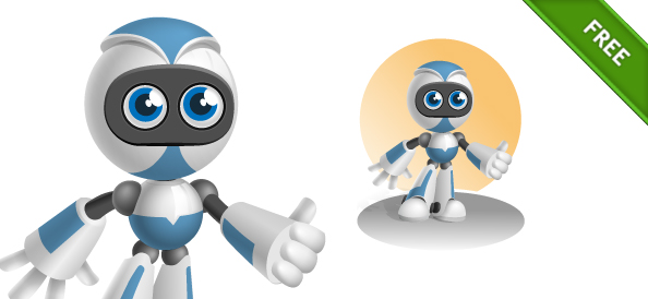 Robot Vector Character in Blue