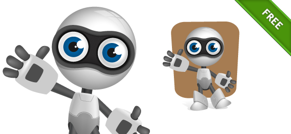 Robot Vector Character with Glossy Effects