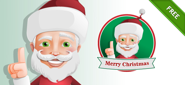 Santa Claus Vector Character with Christmas Ribbon