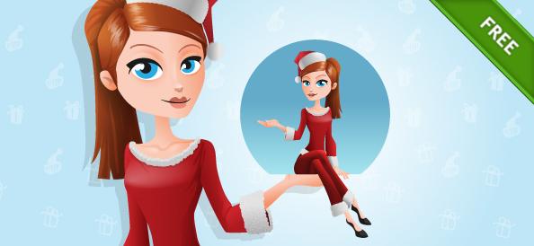 Free Santa Girl Vector Character