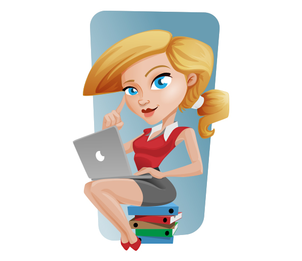 Vector Business Girl with Laptop