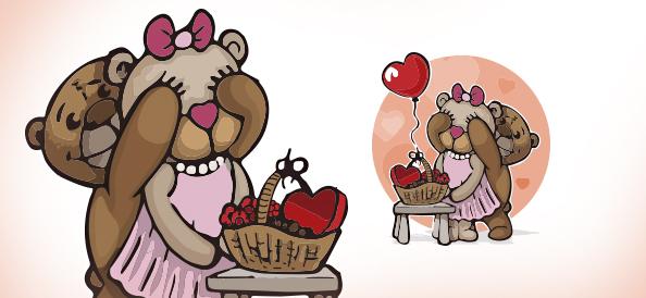 Vector Teddy Bears Illustration