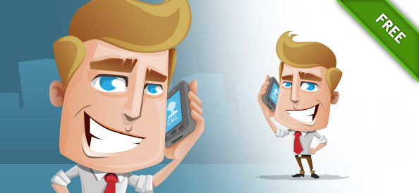 Vector Business Guy holding a Phone