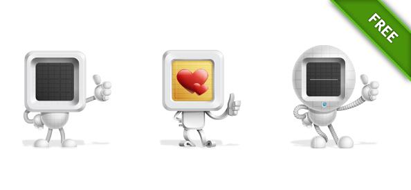 Free Vector Robotics Character Set