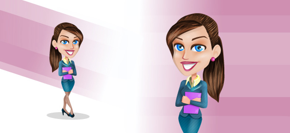 Vector Businesswoman with Folder