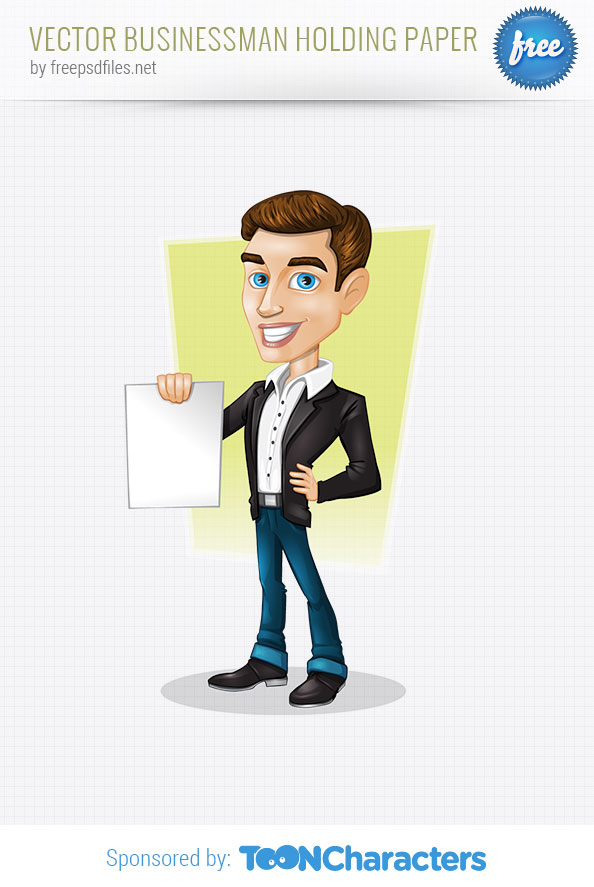 Vector Businessman Holding Paper