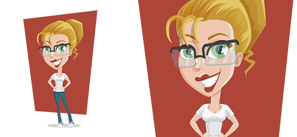 Vector Casual Girl with Glasses
