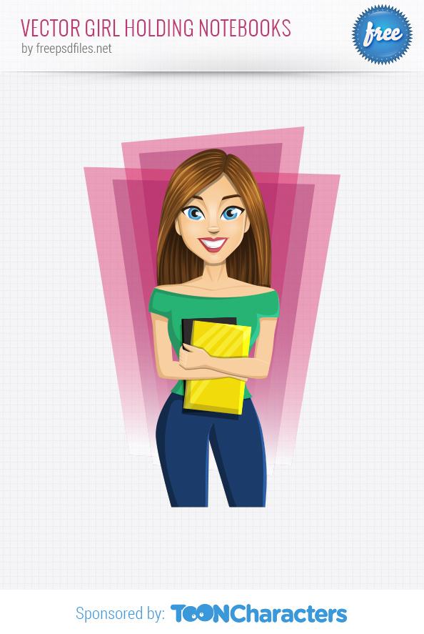 Vector Girl Holding Notebooks
