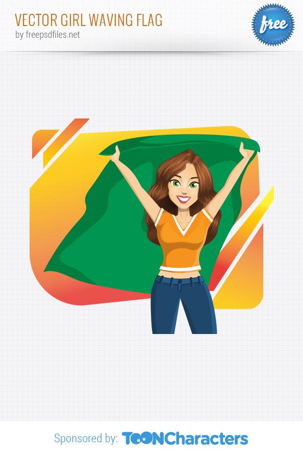 Vector girl waving flag