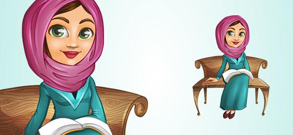 Arab Vector Girl on a Bench