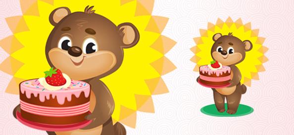 Vector Bear With Cake