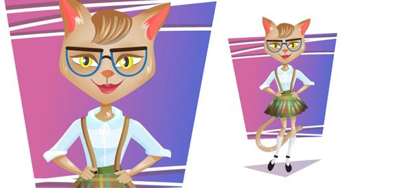 Vector Cat Wearing Glasses