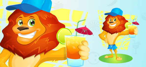 Vector Lion Holding Lemonade
