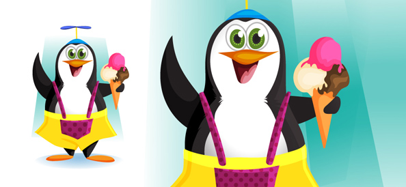Vector Penguin Holding Ice Cream