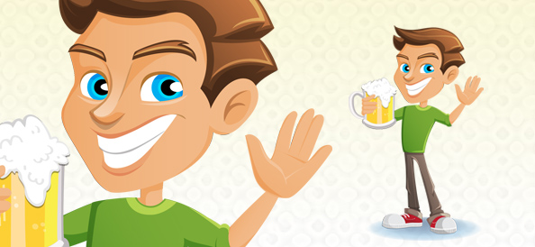 Vector Man Holding Beer