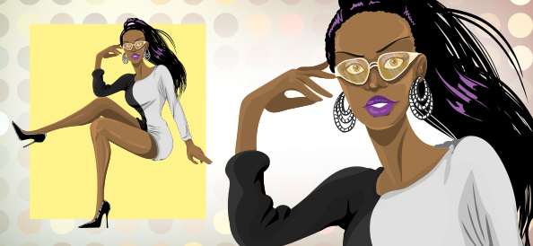 Vector African American Disco Woman