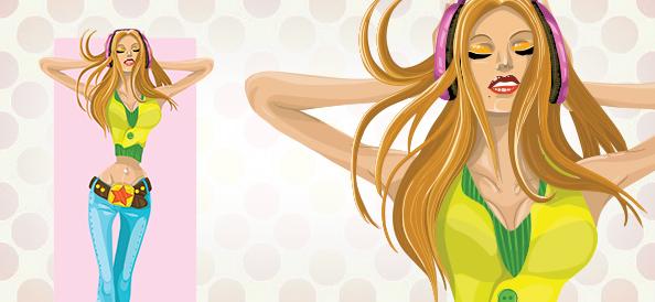 Vector Girl with Headphones