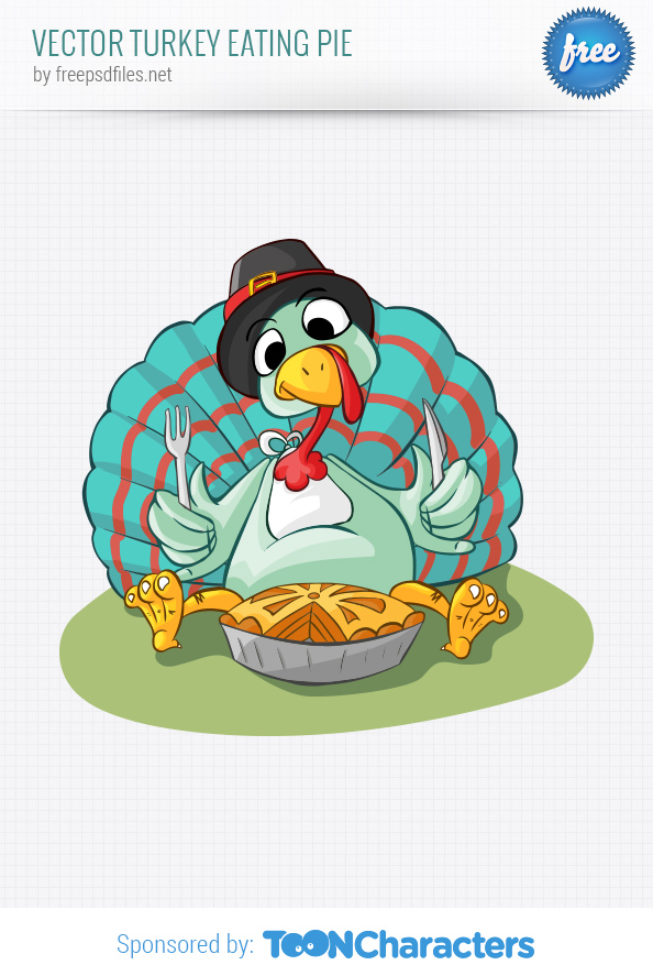 Vector Turkey Eating Pie