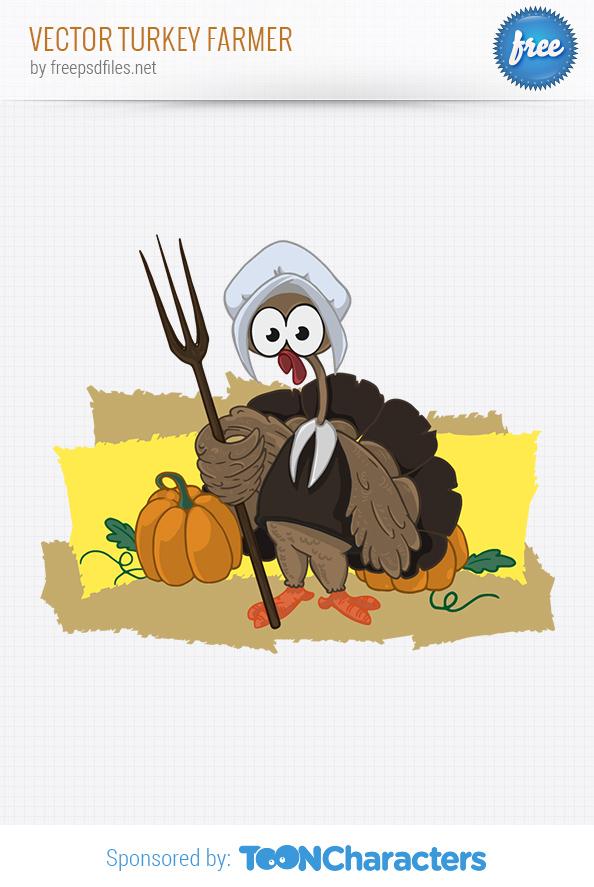 Vector Turkey Farmer
