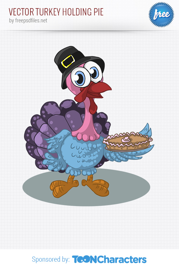 Vector Turkey Holding Pie