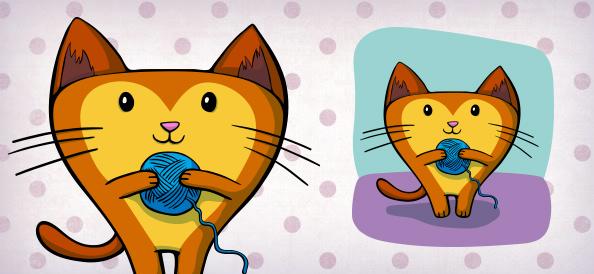 Vector Cat Holding Yarn Ball