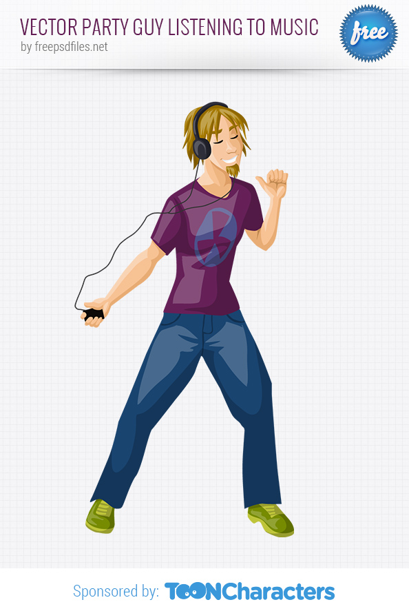 Vector Party Guy Listening to Music