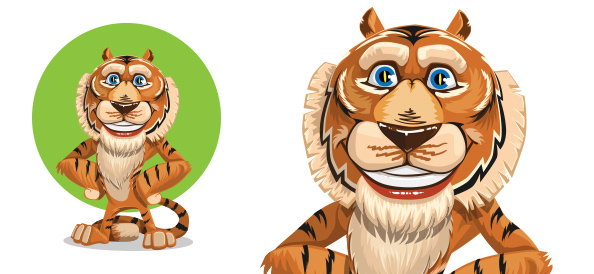 Vector Tiger Cartoon Character