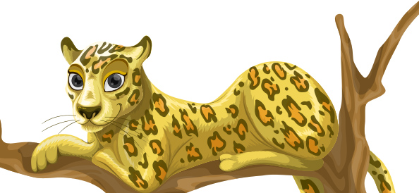 Cute Free Vector Leopard Character