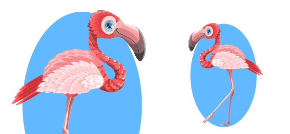 Cute Vector Flamingo Character