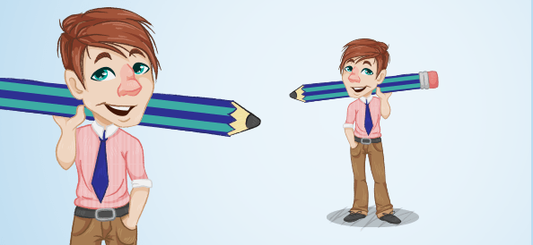 Guy Holding a Huge Pencil
