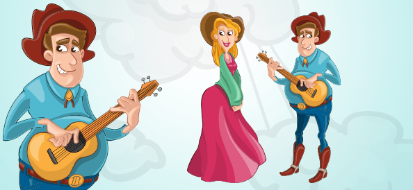 Cowboy Character Playing a Guitar to a Cowgirl