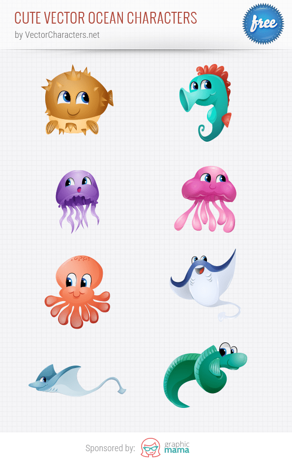 Cute Vector Ocean Characters