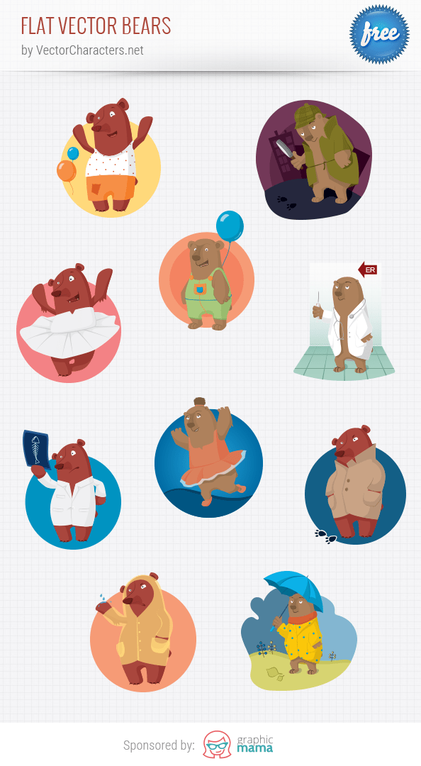 Flat Vector Bears