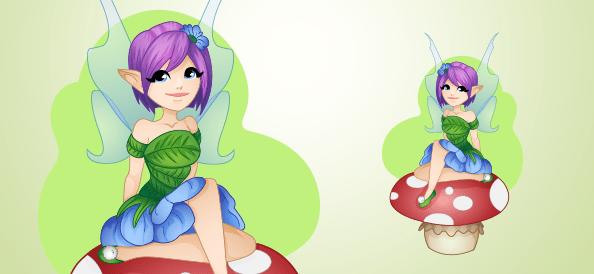 Forest Fairy Sitting on a Mushroom