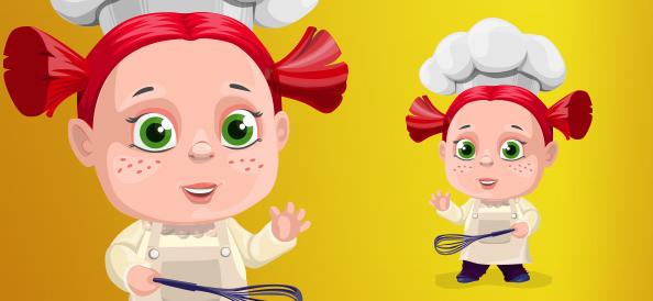 Chubby Vector Cook Girl