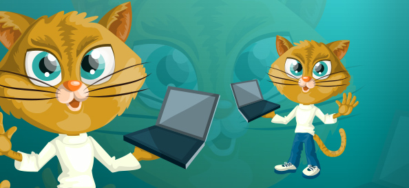 Vector Cat holding a Laptop