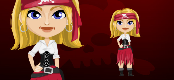 Blond Pirate Woman with Headband