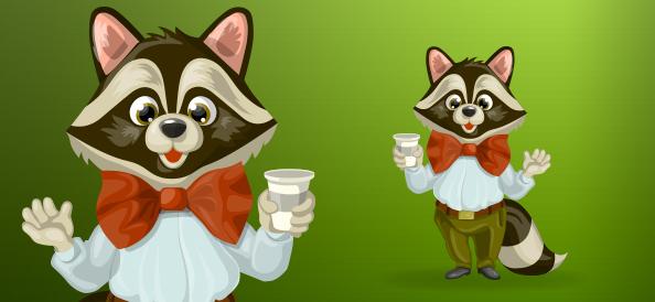 Chubby raccoon with bow tie