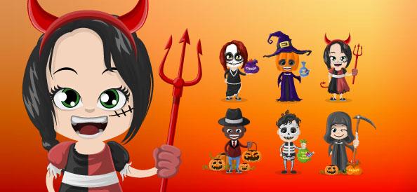 Halloween Vector Character Set
