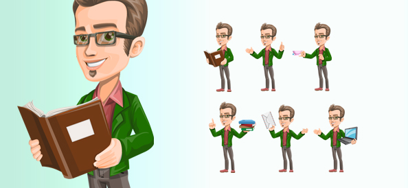 Free Vector Smart Guy Character