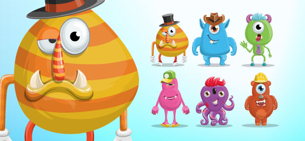 Funny monster vector character set