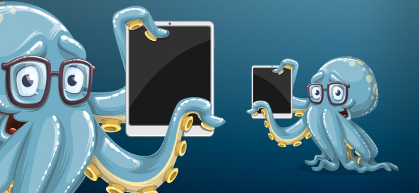Smart octopus vector graphic with tablet