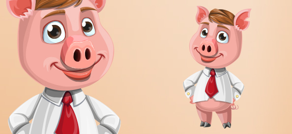 Vector Businessman Pig Character