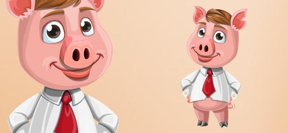 Vector Businessman Pig Character
