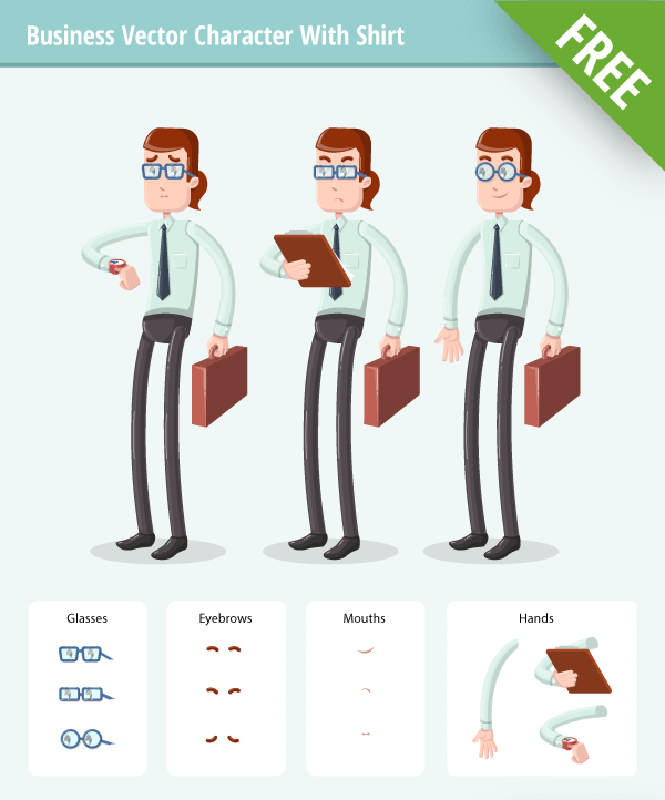Business Vector Character Set with shirt free