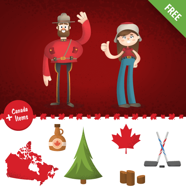 Vector Canada Cartoon Characters set