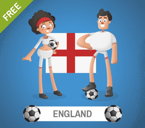 free england Soccer Cartoon Characters