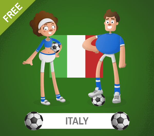 free italy Soccer Cartoon Characters
