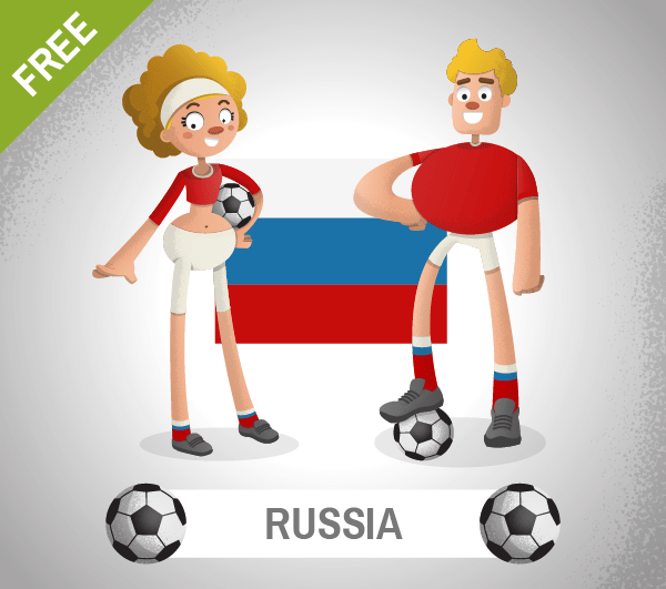 free russia Soccer Cartoon Characters