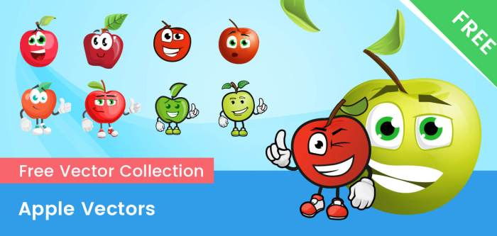 Free Vector Apple Characters Set